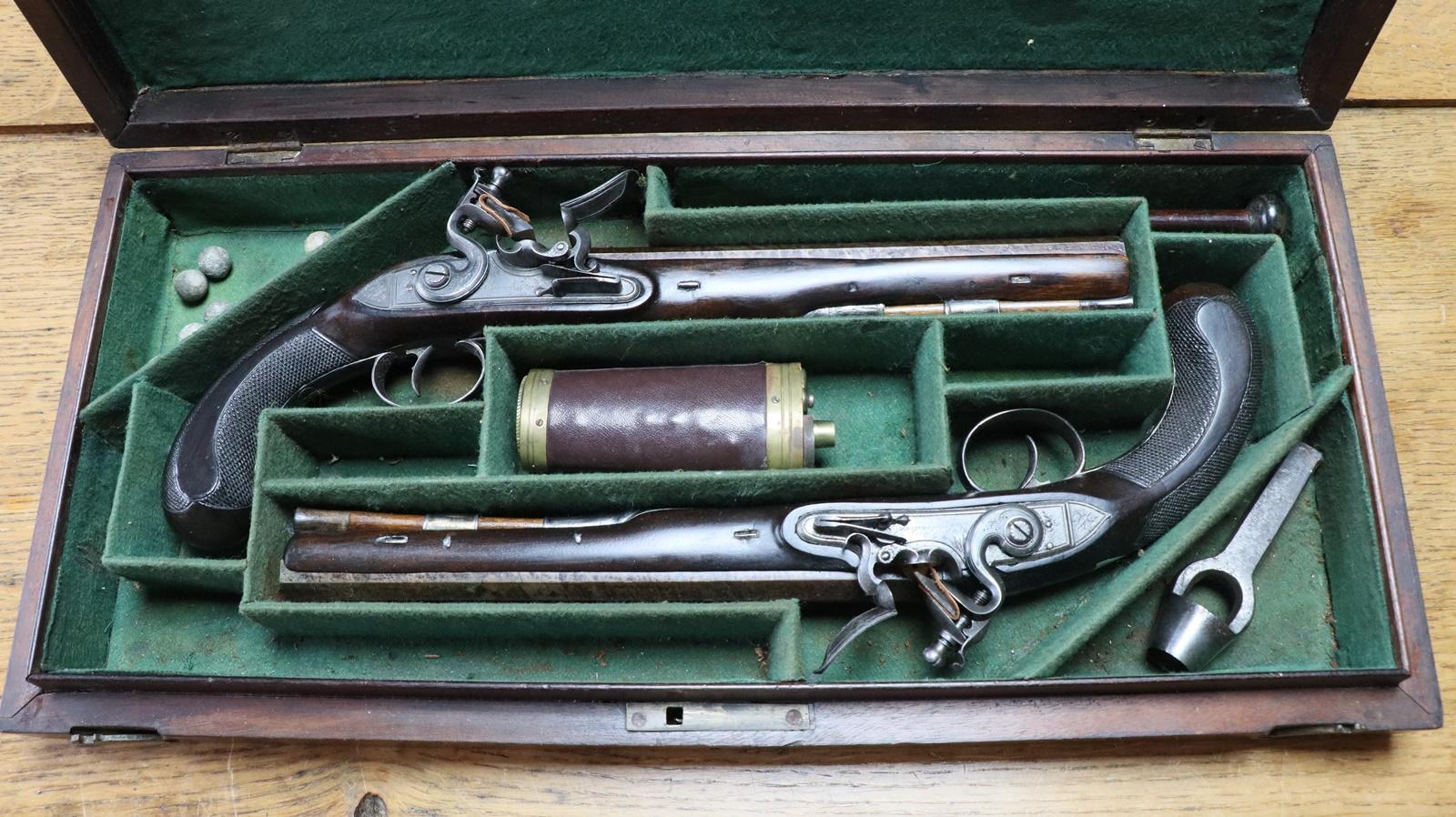 Cased pair Hutchinson of Dublin circa 1780